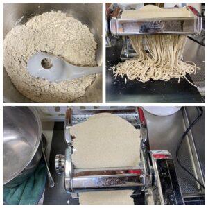 パスタマシンで蕎麦
